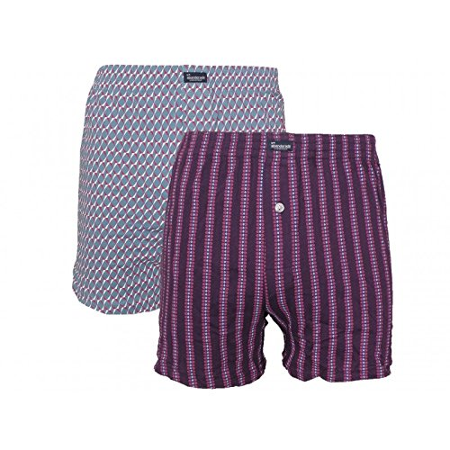 Abanderado Punto Bóxers, Multicolor (Lineas Geo Moradas/Geometric A), M/48 (Pack de 2) para Hombre