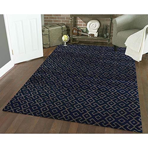 Admire Home Living Bronte Contemporary Abstract Geometric Pattern Area Rug Blue 5'3