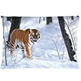 Denise Love forest winter taiga tiger Pillow Hülles Cover,body pillow cases 20x30inch (Two sides)