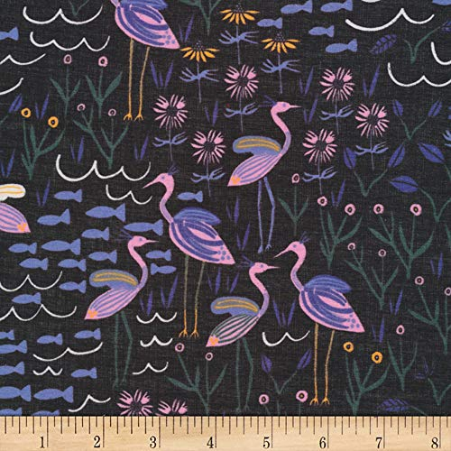 Cloud 9 Organic Wild Island of the Moon Batiste Black/Multi Fabric Fabric by the Yard