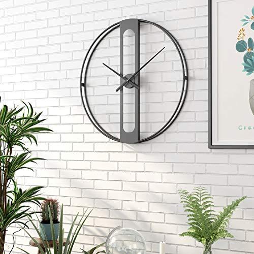 Funtabee - Große minimalistische Wanduhr - 50 cm, Stilisiertes Elegantes Design, Ideal für Wohnzimmer, Küche, Büro, Kneipe, Loft, Hotel, Moderner Stil, Geräuschlos, Kein Ticken, Schwarz