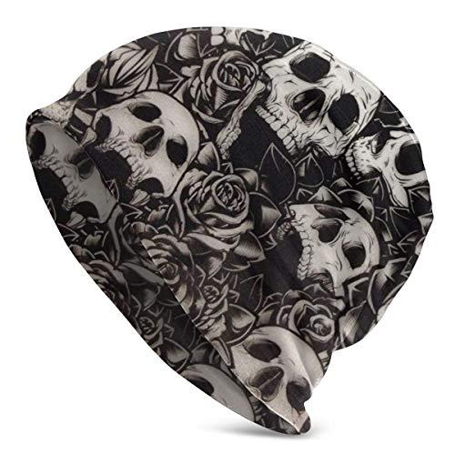 XCNGG Skull Camo Rose Floral Pattern Hombres Mujeres Gorros de Punto Sombreros de Invierno Gorras de Cobertura