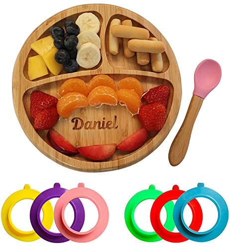 Personalised Bamboo Plates Baby Bamboo Suction Plates Baby Bamboo Plate & Bamboo Spoon Set Circle Section Pink