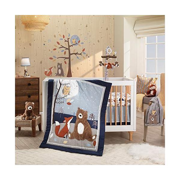 Lambs & Ivy Sierra Sky Blue/Gray Woodland Nursery 3-Piece Baby Crib Bedding Set