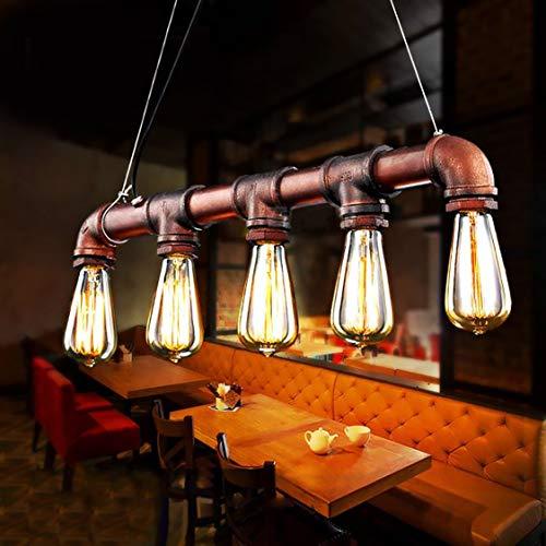 Lightess Wasserrohr Lampe Rohr Vintage Pendelleuchte Hängelampe Hängeleuchte Industrial 5 Lichter E27 Sockel Kupfer-Finish