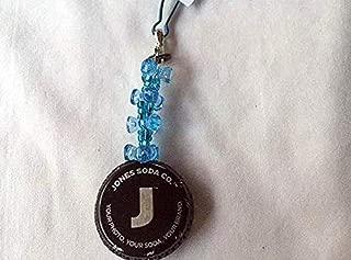 Jones Soda Black Silver and Light Blue Tribead Upcycled Bottlecap Keychain Charm