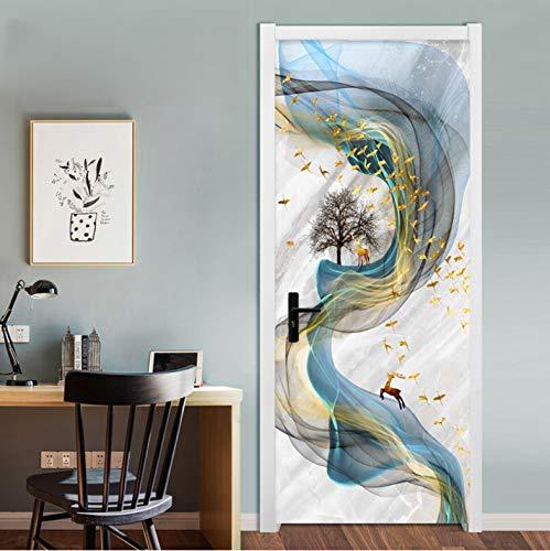 Etiqueta De La Puerta Estilo 3D Estéreo Abstracto Línea Mármol Sala De Estar Pegatinas De Pared Decoración De Hogar 90 x 200 cm