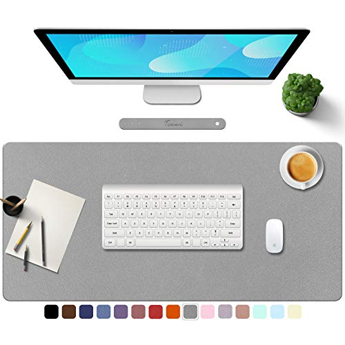 """TOWWI PU Leather Desk Pad with Suede Base, Multi-Color Non-Slip Mouse Pad, 32"""" x 16"""" Waterproof Desk Writing Mat, Large Desk Blotter Protector (Gray)"""