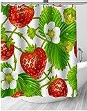 fptcustom Erdbeere Süße Beeren Obst Duschvorhang Badezimmer Schöne Dekor Duschvorhang Wasserdicht Für Selbst 180X200 cm Mit Haken