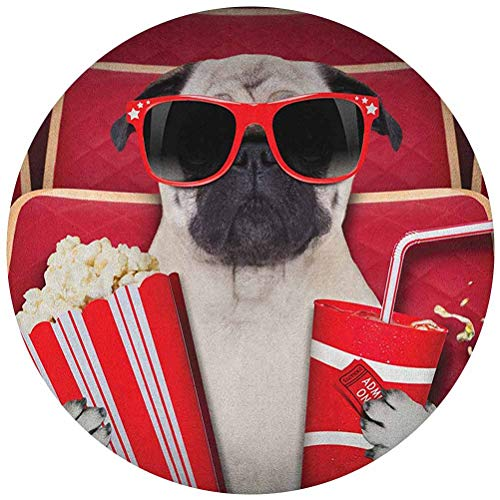 ScottDecor Pug Tablecloth Round Round 60 Inch Funny Dog Watching Movie Popcorn Soft Drink and Glasses Animal Photograph Print Table Cover for Kitchen Dinning