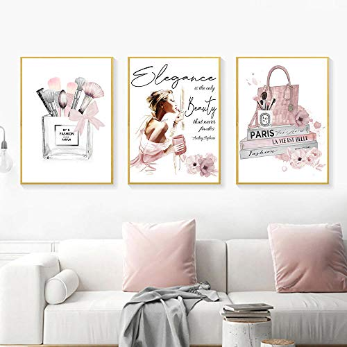 agwKE2 Póster de Moda Impresiones artísticas de perfumes Maquillaje Lienzo Pintura Libros Carteles Belleza Mujer Imágenes artísticas de Pared para decoración de Sala de Estar / 40x60cmx3 (sin Marco)