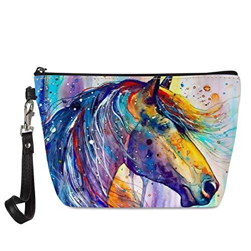 Seanative acuarela caballo impresión señoras viaje neceser con cremallera gran capacidad mujeres cosméticos bolsa