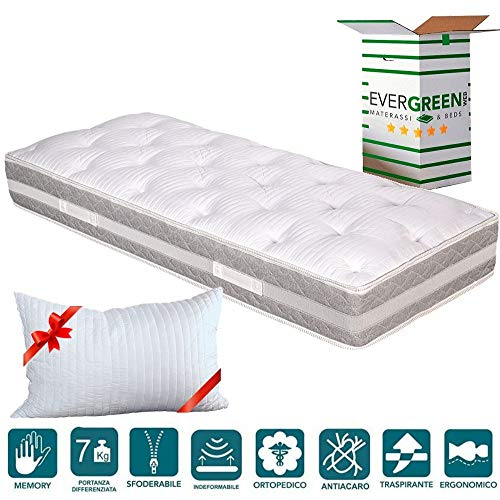 EVERGREENWEB - Materasso Singolo 80x190 alto 25cm con Topper in Memory Foam Med Sfoderabile + Cuscino Letto GRATIS, Lastra in Waterfoam Ortopedico a 7 Zone Differenziate doppio Lato Estivo e Invernale