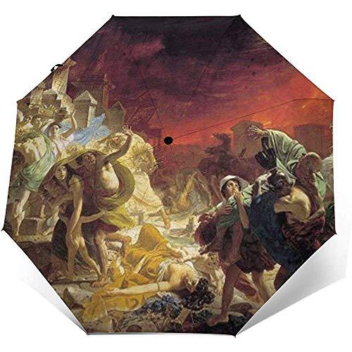 Gemälde des letzten Tages von Pompeji von Karl Briullov Folding Compact Regenschirm wasserdicht-Sun Block-Auto Open&Close (schwarzer Kleber)