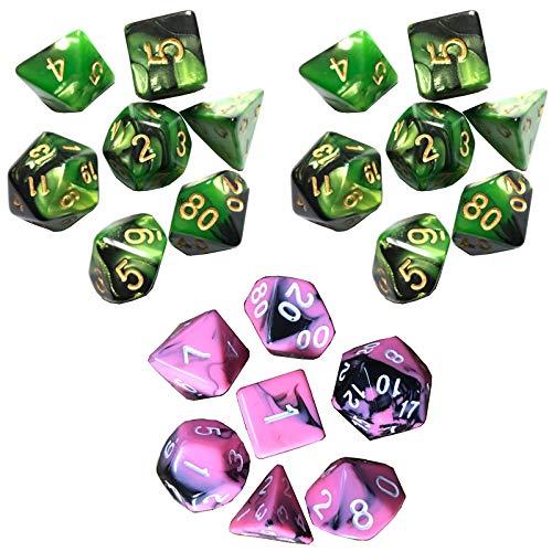 JenLn Game Supplies - Juego de dados de 2 colores con múltiples caras para juegos de 7 piezas, apto para el hogar y actividades (3 juegos) dados de rol (color: color 12, tamaño: 15 mm)