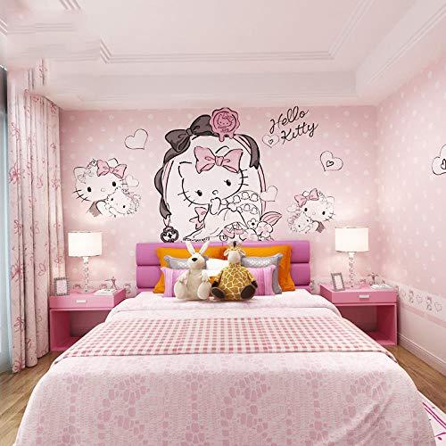 Papel pintado de dormitorio para niños_Fondo de pantalla de habitación de niña Papel pintado de habitación de niños Dibujos animados Hello Kitty sin m Papel Pintado Fotográfico Fotomural-200cm×140cm