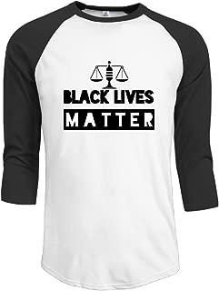 ZOENA Men's Three Quarter Sleeve Tshirts Equal Black Lives Matter Black