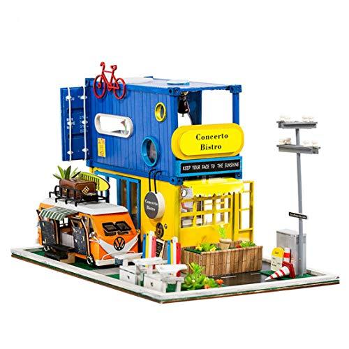 GuDoQi Casa de Muñecas de Madera DIY, Miniatura de la Casa de Muñecas con Muebles y Música, Modelo de Mini Apartamento Hecho a Mano para Adultos, Villa de Contenedor