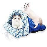 SABAN Cama para gatos, saco de dormir para gatos, cueva para gatos grandes, lavable, sacos de dormir para gatos, arena para mascotas, cama para gatos y perros, color azul, 40 x 45 cm
