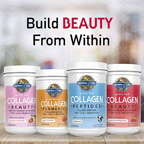 Garden of Life Grass Fed Collagen Peptides Powder – Unflavored Collagen Powder for Women Men Hair Skin Nails Joints, Hydrolyzed Collagen Protein Supplements, Post Workout, Paleo & Keto, 14 Servings