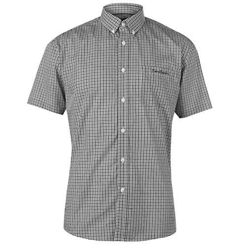 Pierre Cardin - Camisa Casual - con Botones - con Botones - Manga Corta - para Hombre Schwarz Check X-Large