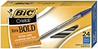 BIC Cristal Xtra Bold Ball Pen, Bold Point (1.6 mm), Blue, 24-Count by BIC