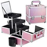 Frenessa Makeup Train Case Portable Cosmetic Box Jewelry Organizer 3 Trays with Brush Holder Keys and Mirror Carrying with Handle Makeup Storage Box Travel Cases for Women and Girls - Mermaid Pink
