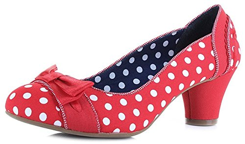 Ruby Shoo Damen Pumps Hayley Polka Dots Schleife Schuhe Rot Geschlossen 39