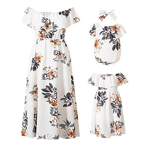 PopReal Mommy and Me Dresses Floral Printed Chiffon Bowknot Ruffles Short Sleeve Beach Mom Daughter Matching Outfits