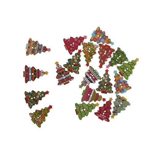 20pz Colorati Natale Alberi Tasti in Legno Cucire Ornamenti Stoffa Fai Da Te Decorazione Scrapbooking
