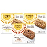 Simple Mills Soft-Baked Almond Flour Bars, Variety Pack - (2) Nutty Banana Bread, (1) Spiced Carrot Cake, 3 Count (PACKAGING MAY VARY)