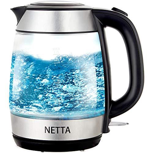 NETTA Electric Glass Kettle | 1.7L Capacity | Fast Boil | Blue LED Illumination | Swivel Base with Flip Top | 2200W |