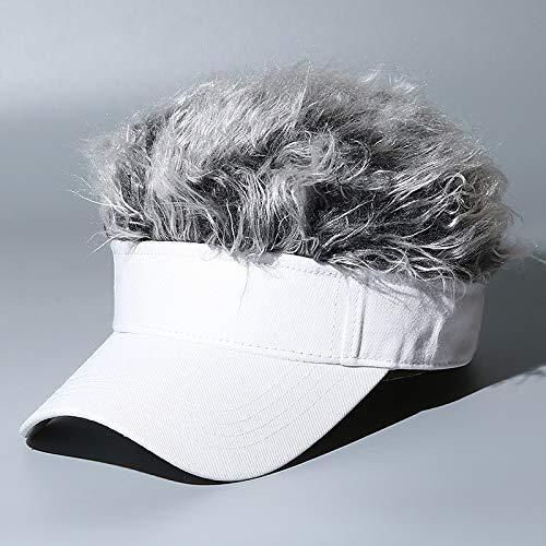 Pruik Baseball Cap Heren En Dames Trend Cap Outdoor Zonnehoed One Size Wit Haar