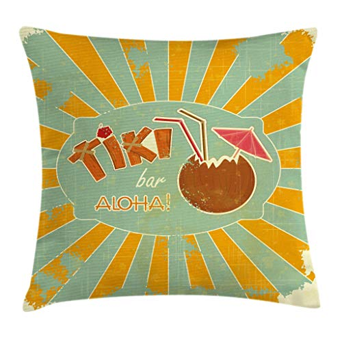 Ambesonne Tiki Bar Throw Pillow Cushion Cover, Vintage Design Exotic Cocktail Aged Look Aloha Fun Party Print, Decorative Square Accent Pillow Case, 18