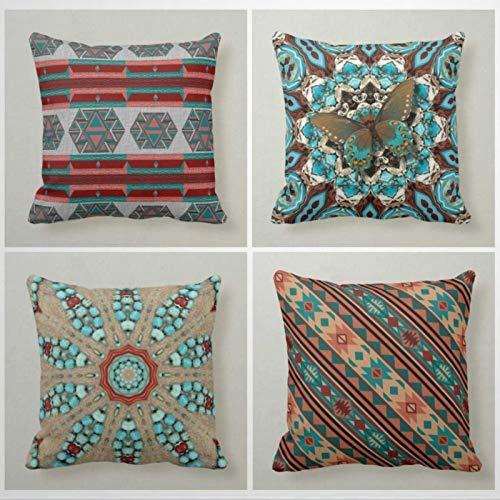 Kiss Cervical Juego de 4 fundas de almohada de terracota del suroeste de 18 x 18 cm, fundas de almohada geométricas para decoración del hogar para sofá