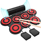 Electronic Drum Set - KONIX Bluetooth Electric Midi Drum Set Kit for Kids Beginner Portable Roll Up Drum Practice Pads - Musical Instruments With Built-In Speaker,Drum Pedals Drum Sticks (green)