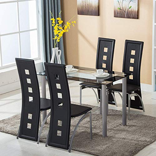 JOYBASE Dining Table Set, 5 Piece Glass Kitchen Table and Leather Chairs Furniture (Black)