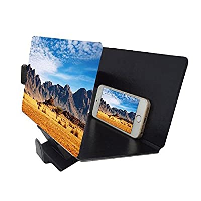 Canyoze Screen Magnifier 3D Smart Mobile Phone Movies Amplifier with PU Leather Foldable Holder Stand for Any Smartphone, iPhone 4/5/6/7/7S Plus, Samsung Galaxy Note 6/5/4/3 Edge All Smart Phones from Canyoze