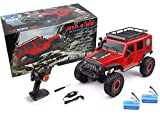 MODELTRONIC Crawler RC Jeep Wrangler SUV WLtoys 104311 Escala 1/10 2.4G tracción 4x4 RTR Color Rojo con BATERÍA Extra