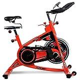 Nobuddy Bicicleta Estática De Spinning Fitness, Profesional Bicicleta Indoor, Volante Grande De 18 Kg, Reloj Electronico Multifuncional, Sistema De Resistencia Infinita, Detección