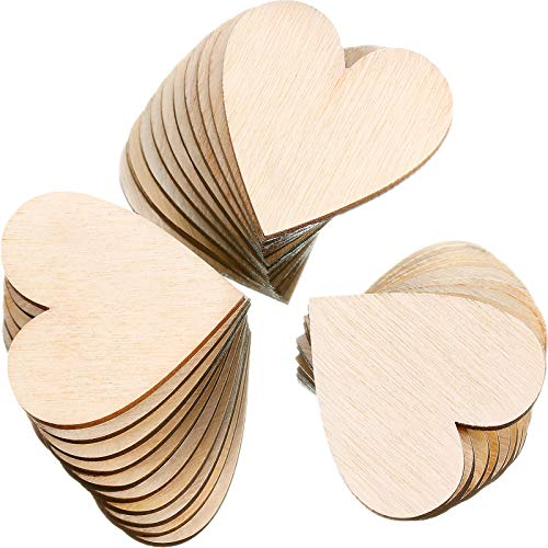 200 Pieces 1 Inch Wood Heart Cutouts Wood Heart Slices Embellishments Ornaments for Wedding, Valentine, DIY Supplies (1 Inch, 200 Pieces)