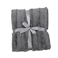 Cheer Collection - Faux Fur Blanket, Luxurious Blanket for Couch, Throw Blanket, 60 x 50 inches, Grey