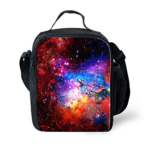 hugsidea Trendy Galaxy impresión bolsas de almuerzo con Botella de agua bolsillo para niño