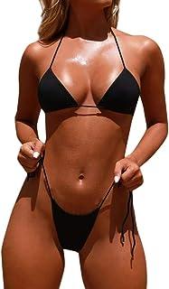 comprar comparacion Overdose Bikinis Mujer 2020 Tanga, Mujeres Bandeau Bandage Bikini Set Push-Up Brasileño Ropa de Playa Traje de baño Color ...
