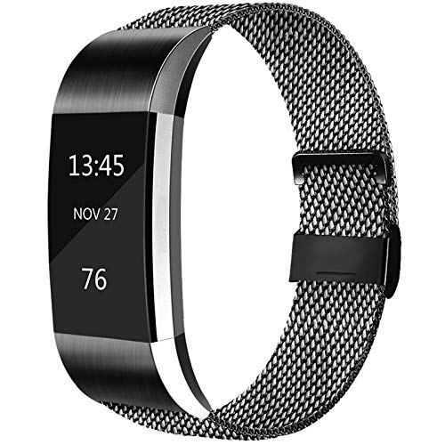 AK Metal Replacement Bands Compatible for Fitbit Charge 2 Bands, Stainless Steel Adjustable Wristband for Fitbit Charge 2 with Unique Magnet Clasp (Large, 03 Black)