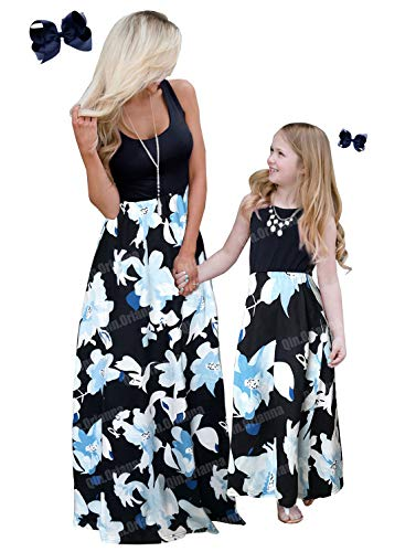 Qin.Orianna Mommy and Me Boho Floral Family Matching Maxi Dress with Pocket for Mother's Day Navy