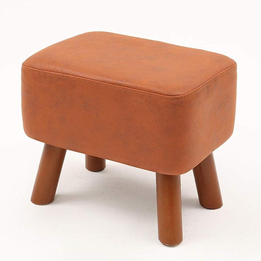 囲む転倒研磨剤XJLXX リビングルーム木製ソファフットスツール寝室クローク変更靴ベンチヤード小さな正方形のスツール ソファースツール (Color : Orange)
