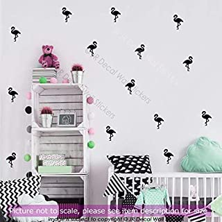 100 pieces (7cm) Flamingo Nursery Wall Stickers, Removable Vinyl Wall Decals, Kid's Room Decor, Kitchen, Girls Bedroom Decor, Bath Tile Stickers