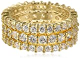 18k Yellow Gold Plated Three Sterling Silver and Cubic Zirconia Stacking All-Around Bands, Size 6