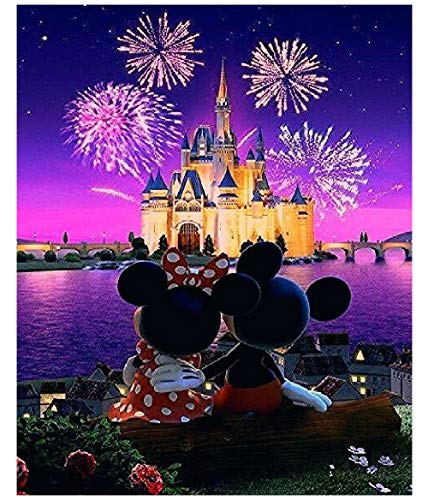 TINDAY Disney DIY Acrylic Paint by Number Kits for Adults Kids Child Beginner Mickey DIY Canvas Painting by Numbers Minnie DIY Painting Acrylic Painting Paint by Numbers Castle 16x20 Inch